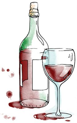 clean wine and glass_dark red